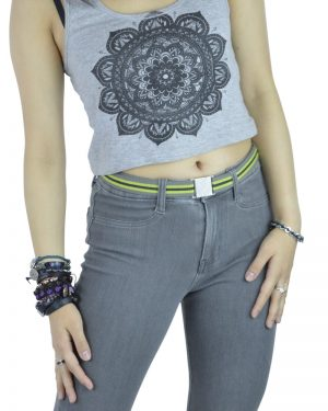 Karma Grey Green Flat Stretch Belt