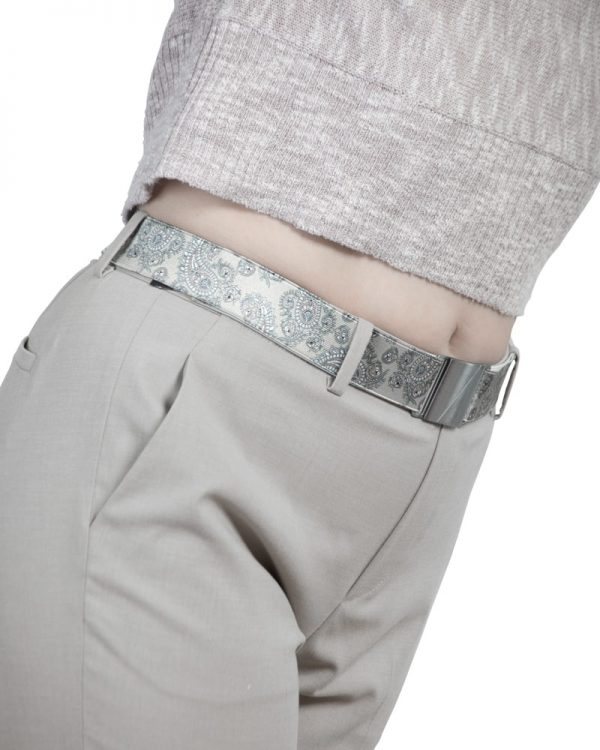 Seva Beige Paisley Flat Stretch Belt