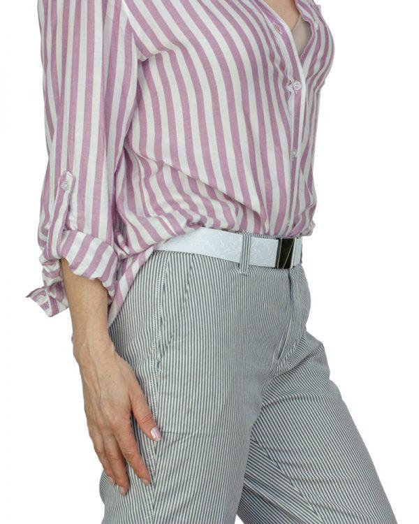 Seva White Leaf Flat Stretch Belt