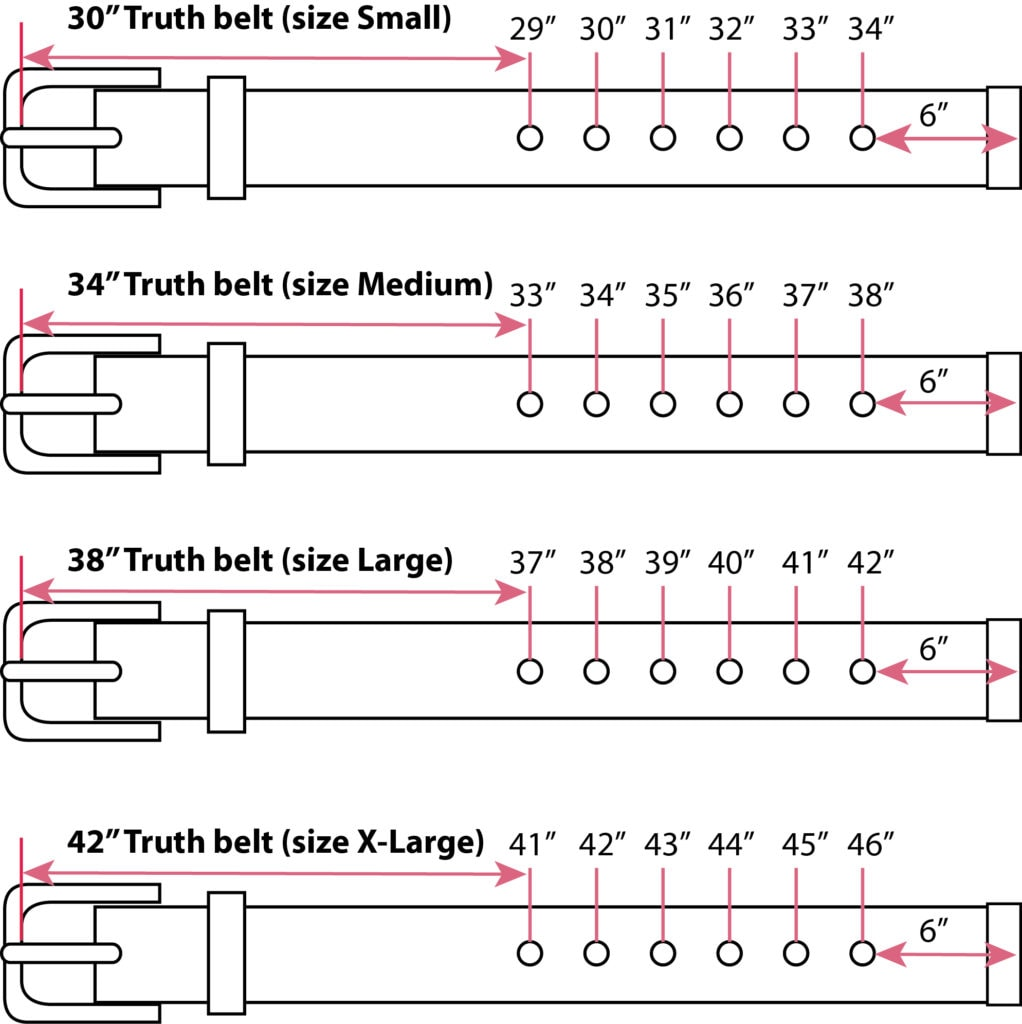 Belt Sizing Chart For the 5D Vegan Belt
